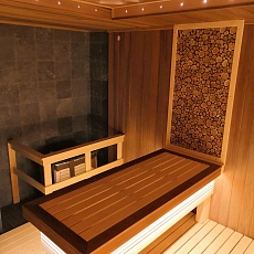 Sauna with panels from the juniper